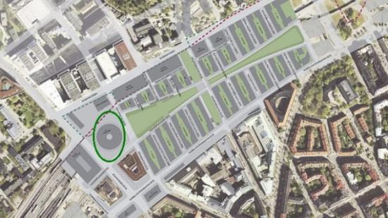 Bilden avser en del av stadsutvecklingsområdet i Hagastaden, Stockholm. Inringad yta avser kv Forskaren.