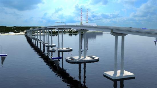 Illustration över den nya bron som ska gå över Potomac-floden.