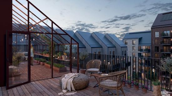 Kvarteret Daggkåpan kommer att få många ytor för social gemensakp, bland annat takterrass med växthus (bilden är en illustration).