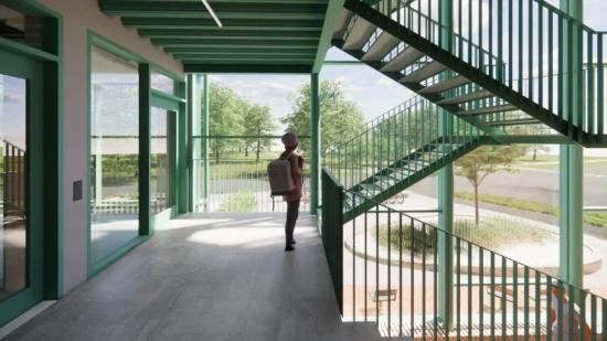 Trapphallen, med stora fönster som tillåter stora ljusinsläpp (bilden är en illustration).