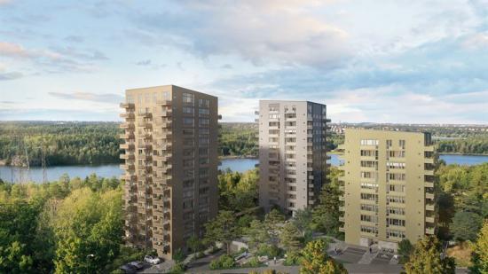 Kvarteret Panorama, tre huskroppar med betongstomme (bilden är en illustration).