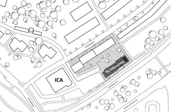 Situationsplan för Lappkastet 2 med förslag till ny byggnad.