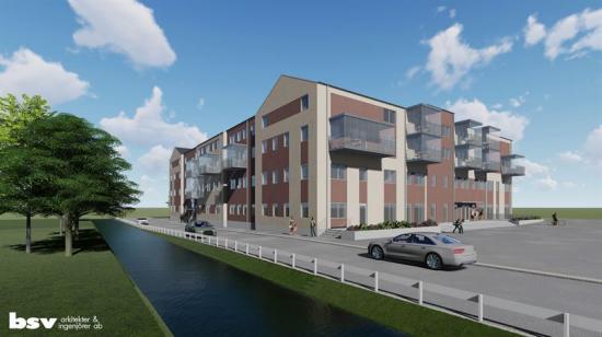 Illustration över det nya kvarteret centralt i Norrahammar.