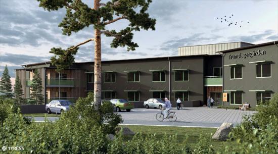 Visionsbild över entrén till Trumslagargården (bilden är en illustration).