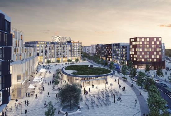 Sveatorget i Barkarbystaden där Wallenstam planerar för 270 bostäder, kontor och kommersiella lokaler. Här blir Barkarbystadens stadsmiljö som mest livfull med tunnelbana, kontor, handel, restauranger, kaféer, service, och bostäder (bilden är en illustration).