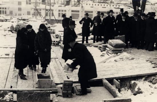 Grundstensläggningen vid Sjöfartsmuseet Akvariet 4 feb 1931.