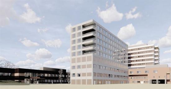 Skiss över det nya Livabygget på sjukhuset i Førde.