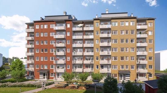 De nya svanenmärkta bostäderna i Berga Park, Linköping, är klara för inflytt i höst(bilden är en illustration).