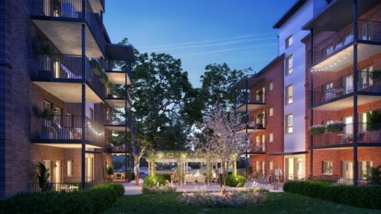 Växjöbostäder bygger nu 49 lägenheter i Kvarteret Saturnus. Alla lägenheterna kommer ha egen balkong eller uteplats (bilden är en illustration).