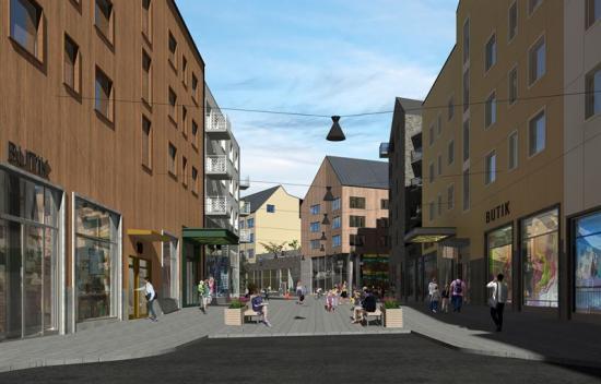 Kvarter 7, 8 och 9 i nya Kiruna, gatuperspektiv.