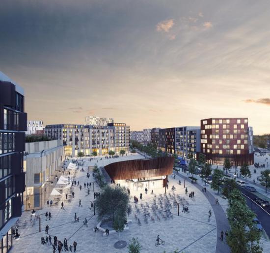 """Visionsbild över """"Tunnelbanetorget"""" i Barkarbystaden. Här kommer tunnelbanans nya station Barkarbystaden att ha en av sina två uppgångar och det är också här som stadslivet blir som mest intensivt med handel, service och kontor."""