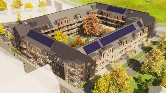 På taket kommer man installera solceller på vissa delar, andra delar kommer ha sadeltak med bandtäckt plåt och skiffer(bilden är en illustration).