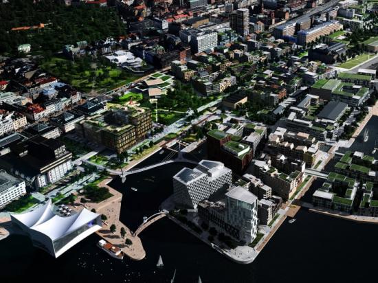 Visionsillustration för framtida utveckling av området mellan Helsingborg C och Hermes 10 (gamla Tretornfabriken).