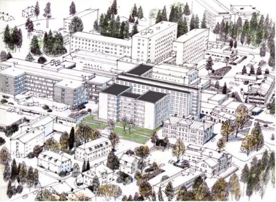 Assemblin ansvarar för installationer inom värme och sanitet vid ombyggnaden av medicinkliniken vid Falu Lasarett.