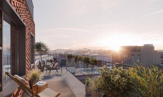 Fabriksparken är Aros Bostads första projekt som byggs för att Svanencertifieras (bilden är en illustration).