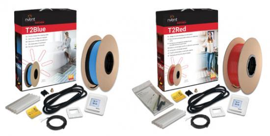 T2Blå och T2Röd golvvärmepaket har fått ny förpackningsdesign och ännu bättre innehåll. Bl a ingår RAYCHEM SENZ golvvärmetermostat.