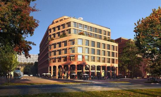 Visionsbild av hotellet, som ärritat avAIX Arkitekter (bilden är en illustration).