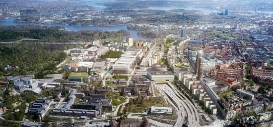 Illustrationen visar framtidens Hagastaden. 2025 beräknas stadsdelen innehålla 6 000 nya bostäder och 50 000 arbetsplatser.