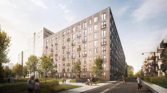 Projektet omfattar 154 lägenheter samt parkeringsgarage med 130 platser(bilden är en illustration).