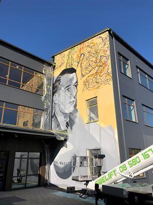 Muralmålning på Bagartorpsskolan.