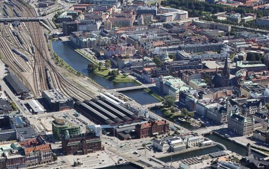 Vy över centrala Malmö med kvarteret S:t Gertrud.