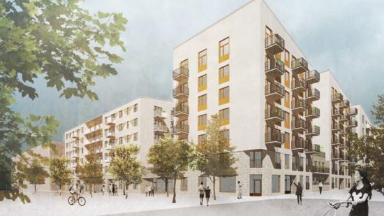 Illustration av HållBos nybyggnadsprojekt i Barkarbystaden.
