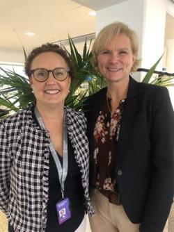 Maria Söderberg, chef för Tjänster på Stockholm Exergi, och Nina Wahlberg, Affärsområdeschef teknisk förvaltning på SBC.