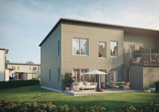Husen finns i två storlekar, 119 eller 135 kvadratmeter, ochhar flexiblaplanlösningar(bilden är en illustration).