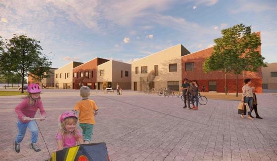 Visionsbild över Löddeköpinges nya skola (bilden är en illustration).