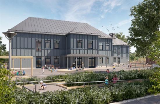 Visionsbild över Ljungs-Hälle förskola, den nya förskolan i Ljungskile (bilden är en illustration).