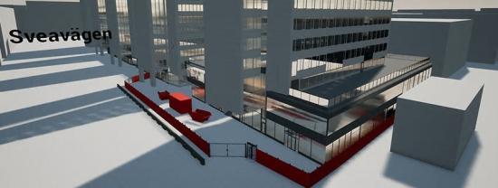 Framtagen bild från TyrEngine som visar ombyggnationer med vy över Sveavägen, projekt Sergelgatan.