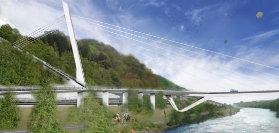 Visionsbild över hur bron kan komma att se ut (bilden är en illustration).