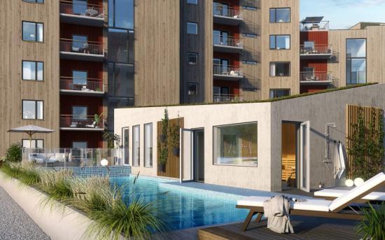 Samtliga bostadsrätter i projektet har antigen balkong, uteplats eller terrass, och ofta dubbelt upp för att utnyttja olika väderstreck(bilden är en illustration).