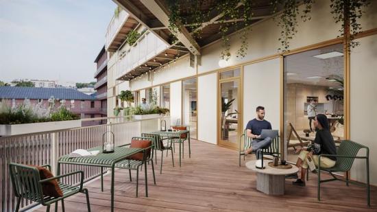 Balkong i fastighetsprojektet i Järva Krog (bilden är en illustration).