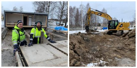 Rickard Backlund och Knut Karlsson, Cramo, jobbar med bodetablering på Noliaområdet, där Fastec är entreprenören när ThorenGruppen uppför en multisporthall och en fotbollshall.