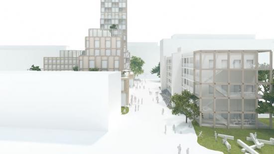 Bild: Stationsentrén. Vy från spårområdet in mot Rosengårdsstråket som kantas av ny bebyggelse, rörelse, möten och trygghet.