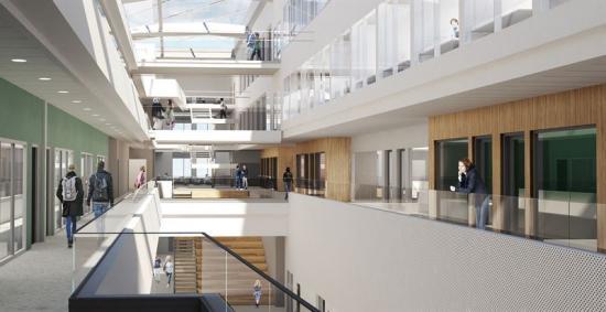 Interiörbild över Högskolan i Halmstad.