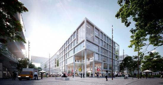 Illustration över MK7, en ny toppmodern, innovativ och unik kontors- och affärsbyggnad i Werksviertel-Mitte i München.