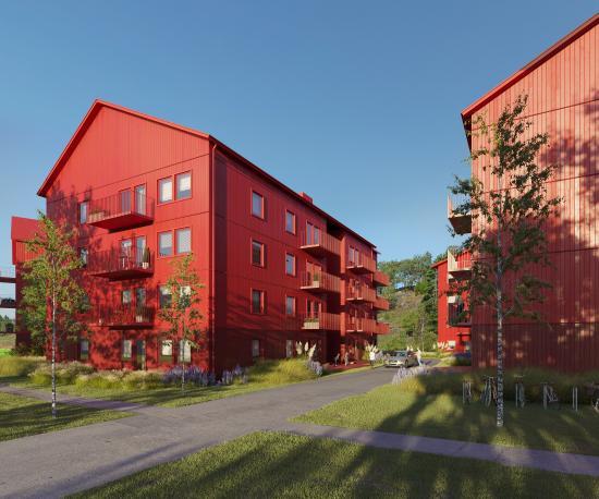 Visionsbild över den planerade bostadsbebyggelsen (bilden är en illustration).