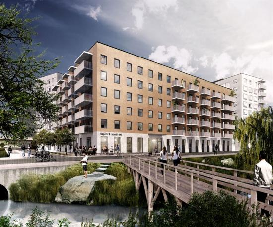 Visionsbild över bostadskvarteret som ska byggas iBarkarbystaden (bilden är en illustration).