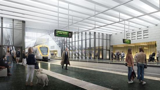 Västlänkens nya, underjordiska pendeltågsstation kommer att präglas av ljus och rymd.