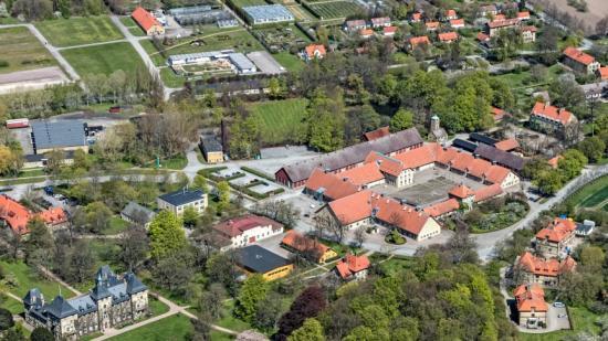 Flygvy över campus Alnarp.