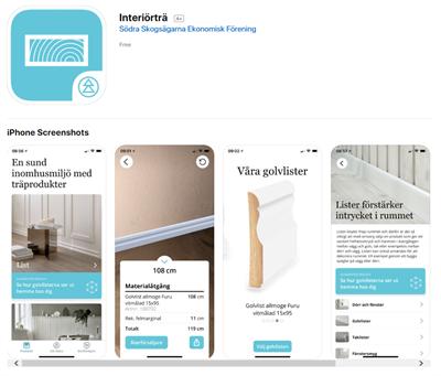 Skärmdump på Södras nya app Interiörträ.