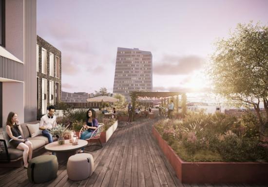 Kvartetten kommer fåen stor takterrass med utomhusarbetsplatser och möjlighet till miljöombyte.(bilden är en illustration).