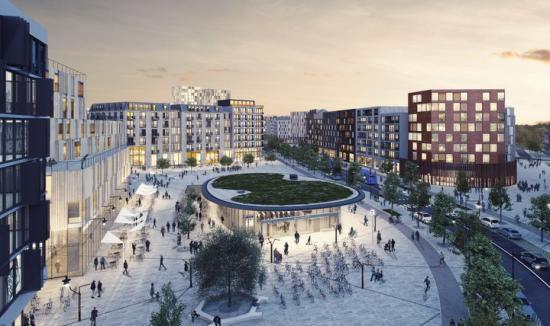 Visionsbild över området kring kvarter 11 och Sveatorget med Barkarbystadens tunnelbanestation, kontor, bostäder, restauranger, handel och annan service (bilden är en illustration).