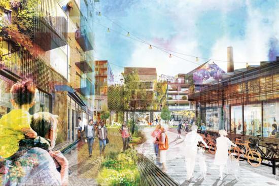 Visonsbild för framtidens Västerbro. Bilden är ett kollage baserat på planerna för hur den nya stadsdelen ska utformas och byggas.
