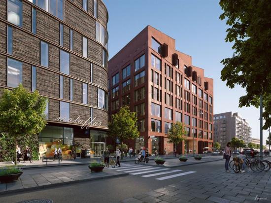 Visionsbild, vy från Gamlestadsvägen med tre av de nya byggnaderna, ritade av från vänster KUB arkitekter, Radar arkitektur, Erséus arkitekter.