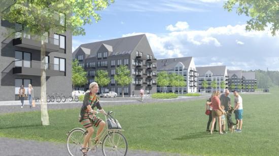 Illustration över de 252 lägenheter som ska byggas i Västerås, utvecklade av I am Home.