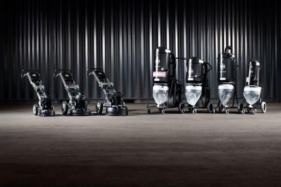 En komplett serie bestående av tre golvslipmaskiner, tre stoftavskiljare och en föravskiljare med fokus på ergonomisk design och användarvänlighet.
