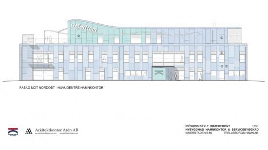 Skiss på Waterfront, nytt kontor och servicebyggnader i Trelleborgs Hamn.